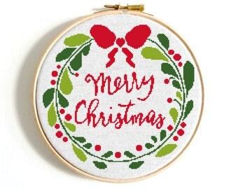 Christmas cross stitch pattern Merry Christmas Wreath Counted cross stitch Floral cross stitch Modern cross stitch Noel Joy Floral wreath