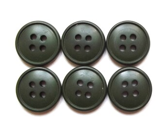 6 buttons round green military 14 mm