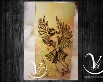 FLIGHT, pyrography, wood engraving, chickadee, bird, Acrylic paint