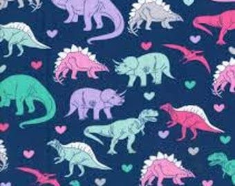 "Dinosaurs with hearts fabric, By the Half Yard, 45"" wide, 100% cotton, novelty fabric, girl dinosaurs, pink dinosaurs, dinosaur fabric"
