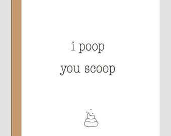 I poop you scoop, dog greeting card, thank you card for dog