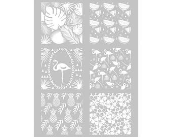 1 stencil TROPICAL for dough FIMO ref 265312