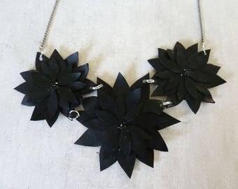black leather Flower necklace