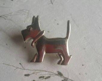 Vintage Terrier Brooch - Scottie Dog, Westie Dog