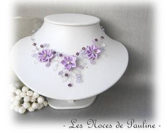 Purple bridal necklace has Daisy collection 'Twist'