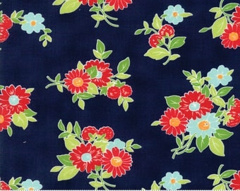 "Moda ""The Good Life"" by Bonnie and Camille ~ SUMMER ~ Navy 55151 16  ~ Floral ~ Half Yard Increments"