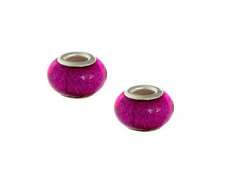 set of 4 beads charm glitter Fuchsia resin 14 mm