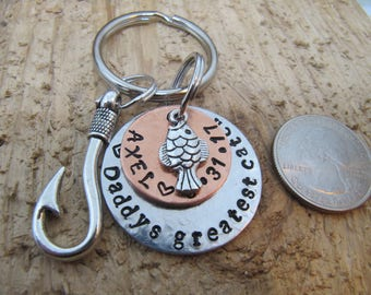 Fathers Day gift, Personalized  Daddy gift, New Baby Gift , fishing key chain , Hand stamped key chain,  Dads birthday, Daddy key chain