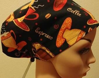 Women's Surgical Cap, Scrub Hat, Chemo Cap, Coffee theme