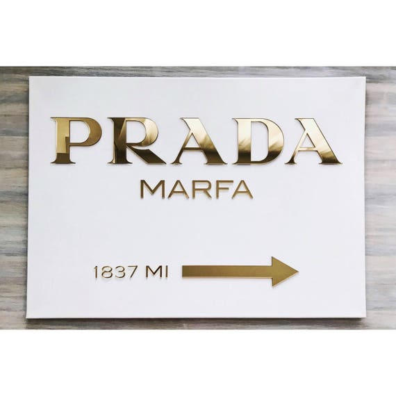 prada marfa canvas gold prada marfa sign gossip girl wall. Black Bedroom Furniture Sets. Home Design Ideas