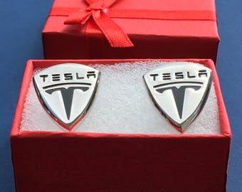 TESLA Luxury Automobile Logo Cufflink Set~Handmade in the USA