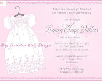Dress baptism invite etsy personalised christening baptism dress invitations invites 10 colours available in this listing diy digital file stopboris Image collections