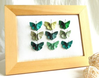 Green raw silk origami Butterfly pendant. Folded fabric butterfly. Romantic gift for her. Origami Butterfly jewel. Textile jewelry.