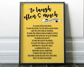 Ralph Waldo Emerson Quote, To Laugh Often and Much, Emerson Printable,  Literary Quote Print, Typography, to laugh often and much poster