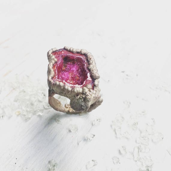 Druzy Ring, Druzy Cocktail Ring, Large Druzy Ring, Raw Gemstone Ring, Mermaid Gemstone Ring, Mermaid Ring, Pink Gemstone Ring, Boho Ring,