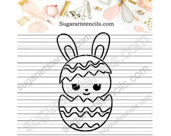 Easter egg  bunny PYO cookie stencil ST00509