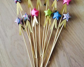 Twelve spikes star for the fairies / cake topper, origami for table, party or cake decoration - candy
