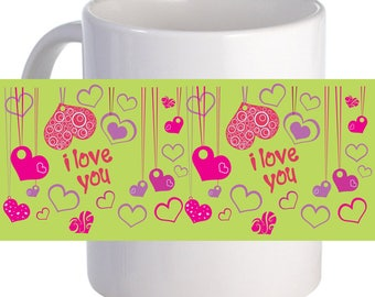 Colorful Heart 11 oz Coffee Mug With Custom Printed Name Image