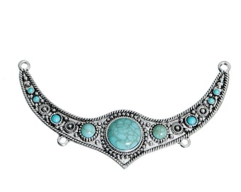 """Great connector """"Bohemian"""" silver plated and Imitation Turquoise 11.5 cm"""