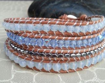 Leather 4 wrap bracelet rounds