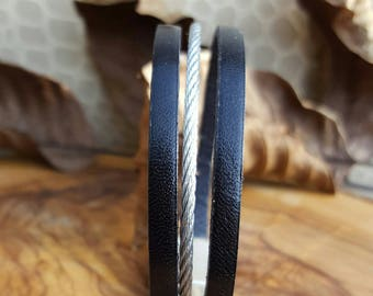 Steel and black men leather cuff