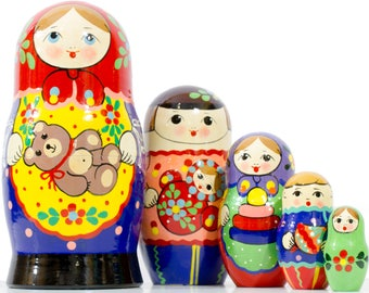 "Russian Nesting Doll - ""Russian Classical. Family Holiday"" - MEDIUM SIZE - 5 dolls in 1 - Hand Painted in Russia - Matryoshka Babushka"