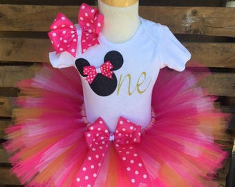 QUICK SHIP Pink and Gold  Minnie Mouse Birthday Tutu Outfit Dress Set Handmade - ANY Age