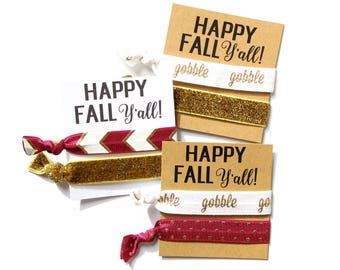 Happy Fall Y'all Hair Tie | Happy Fall Y'all Elastic Hair Tie | Fall | Gobble | Gold | Happy Fall | Maroon | Gold Glitter | Thanksgiving