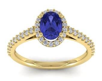 14K Yellow Gold 1 1/4 CT Oval Tanzanite and Diamond Halo Ring