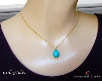 Turquoise Drop Necklace, Sterling Silver, Gold Turquoise, Rose Gold Turquoise Pendant, Teardrop Blue Pendant, Turquoise Layering Necklace