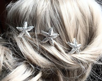 Starfish Hairpin Set, Crystal hairpins,  silver hairpin, Bridal hair accessories, destination wedding