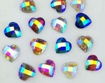 Set of 25 rhinestone cabochon multicoloured heart