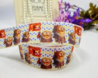 SOLD by the yard grosgrain Ribbon MINIONS 22 mm