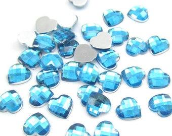 Set of 30 rhinestone 10MM turquoise heart cabochon
