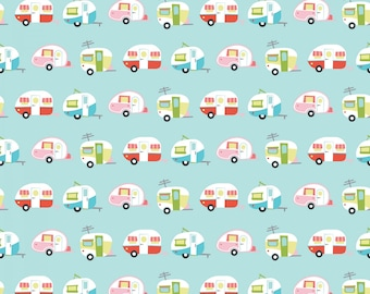 Riley Blake - Glamper Camper by Samantha Walker - Aqua - C6311R - Aqua -  100% cotton fabric  -  Fabric by the yard(s)