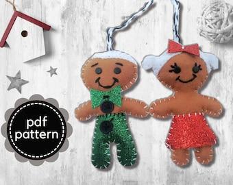 Felt Pattern-Gingerbread Girl Pattern-PDF Felt Pattern-Decor-Gingerbread man Pattern-Gingerbread Felt Ornament-Felt Christmas Ornament