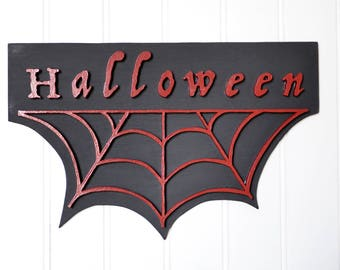 Décoration Halloween rouge sang, noir mat, fait main - halloween decoration fully handmade, red and matte black