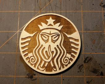 """Cthulhu Coffee 2-3/4"""" Velcro-backed Wood Morale Patch"""