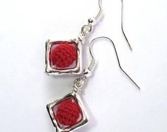 Diamond trend color red Silver earrings women gift