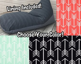 Large Bean Bag Chair- Lining Included - Choose Your Color(s)