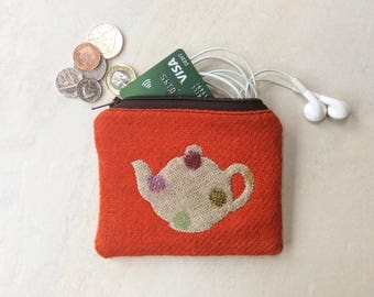 Harris Tweed coin purse, small pouch, bright orange with teapot