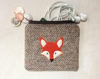 Harris Tweed coin purse, small pouch, shades of brown, cream and green with appliqué fox