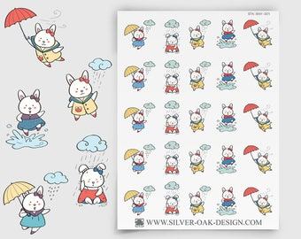 Bunny Rainy Day Stickers | weather reminder | umbrella stickers | ECLP | bunny sticker | rabbit | Happy Planner | weather stickers | BNY-009