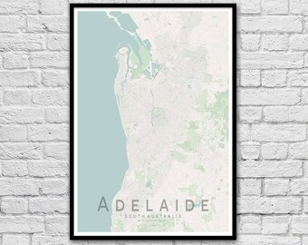 Adelaide Map Print | South Australia City Map | Housewarming Gift | Apartment Wall Art | Travel Poster | Nursery Print | Wall decor | A3 A2