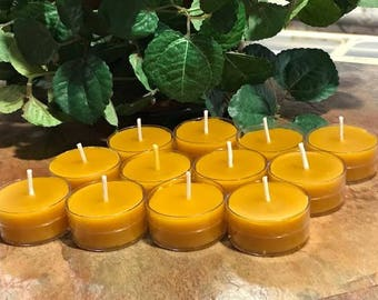 12 Pure Raw Natural Honey Scented Beeswax Tealight Candles Triple Filtered No Additives Beeswax candles handmade chemical free tea light