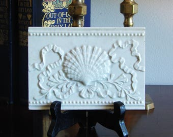 Victorian Fireplace Tile Sea Shell White High Glaze Marked TRENT