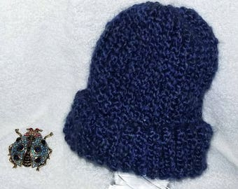 Blue, Knitted, Toddler, Brimmed Baby Hat