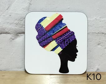 Headwrap coasters, African coasters, unique coasters, high headwrap women coasters, drinks mat, birthday gift for her, UK free shipping