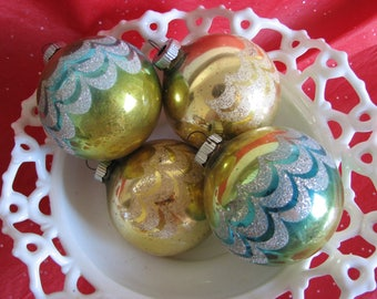 Vintage Christmas Shiny Brite Ornaments Set of 4 Large