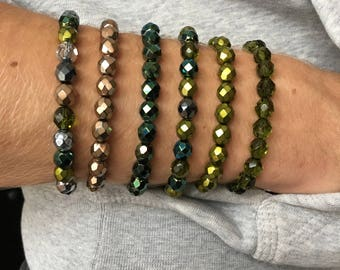 Elastic bracelet with glass beads - green / gold / army-green / anthracite-grey / silver (171102)